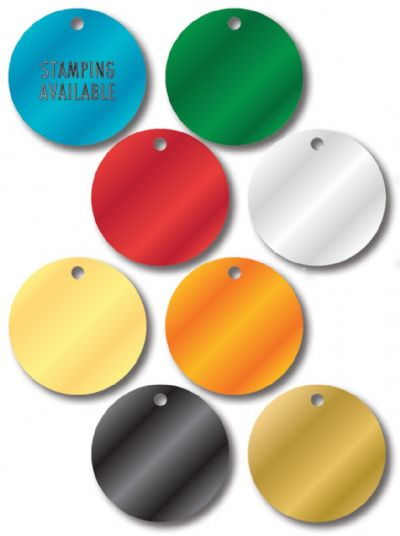 STAMPED COLORED ALUMINUM VALVE TAGS Small Round